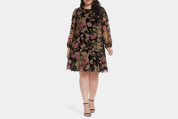 Eliza J Burnout Velvet A-Line Dress
