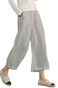 Ecupper Womens Casual Loose Elastic Waist Cotton Trouser