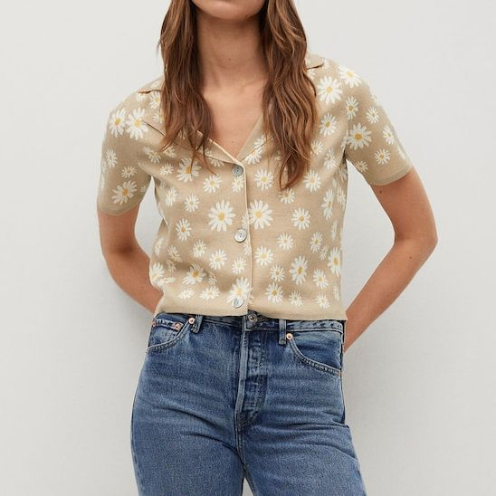 Mango Floral-Print Knitted Cardigan