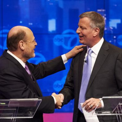 New York City Democratic mayoral candidate Bill de Blasio, right, and Republican mayoral candidate Joe Lhota shake hands at the conclusion of their first televised debate at WABC/Channel 7 studios on October 15, 2013 in New York City. The debate, the first of three before the November 5th general election, was hosted by the New York Daily News, WABC-TV, Noticias 41 Univision and the League of Women Voters.