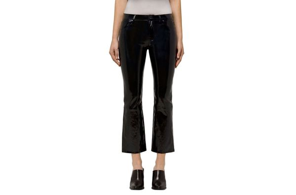 Selena Mid-Rise Cropped Boot Cut in Stretch Patent Black Leather