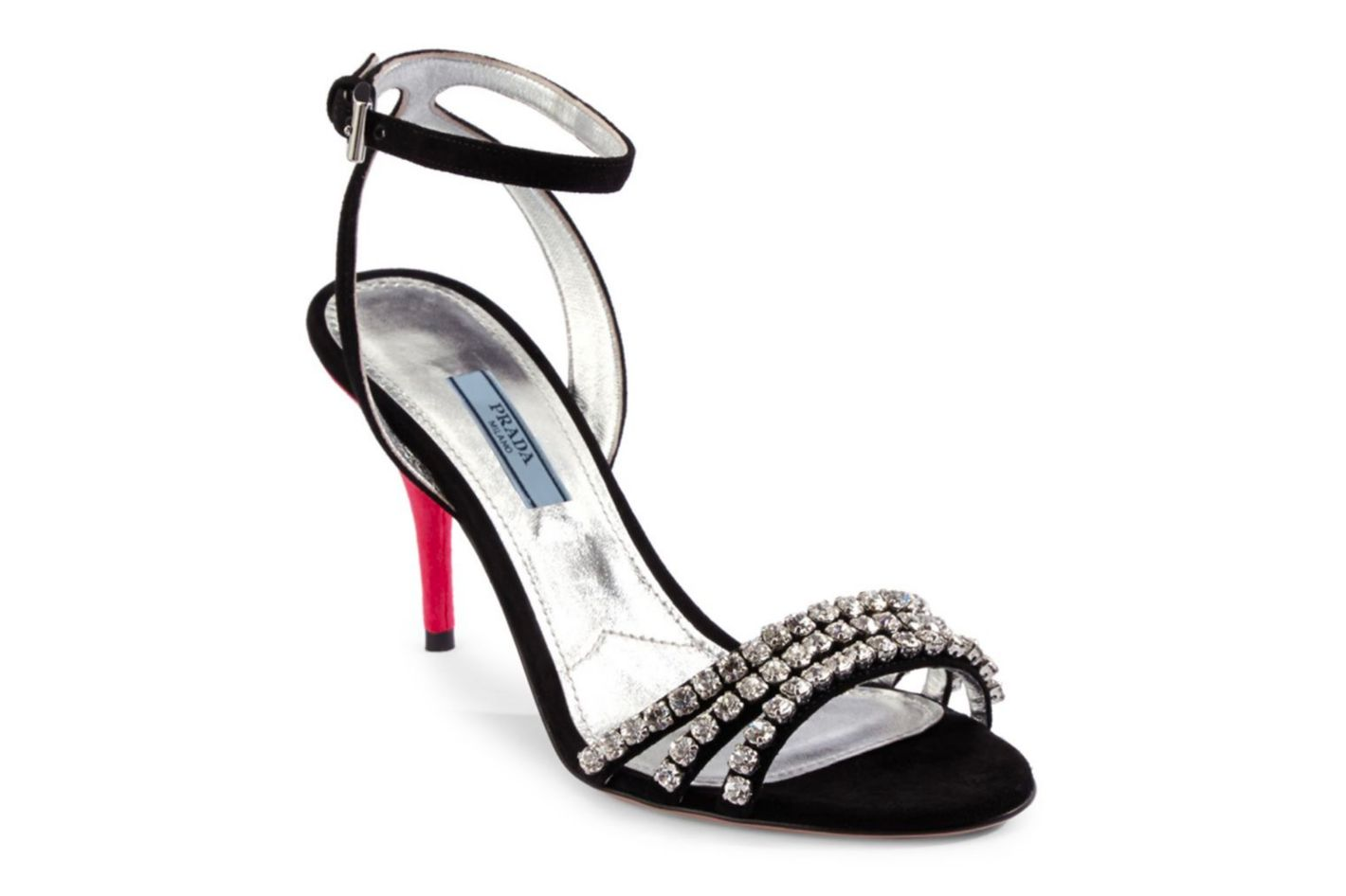 Prada Jeweled Suede Ankle-Strap Sandals