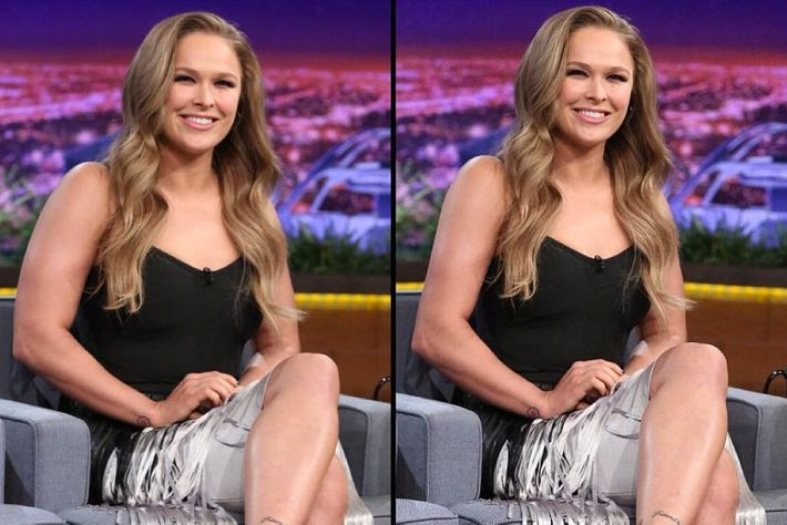 Rousey's arms appear smaller in the right picture.