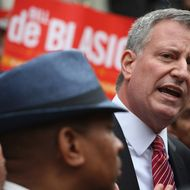 Democratic candidate for New York City mayor Bill de Blasio takes part in an immigration reform event on October 23, 2013 in New York City. De Blasio spoke in favor of comprehensive immigration reform at a campaign event held on the steps of City Hall. He is leading Republican challenger Joe Lhota in the polls ahead of the November 5 vote.