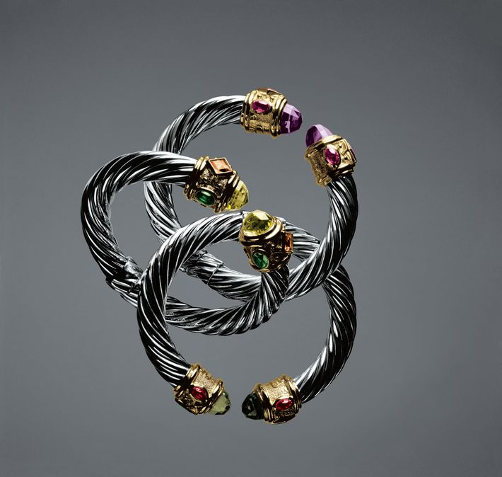 Renaissance Cable In Sterling Silver And Gold Expresses Majestic Strength Any Combination Of Gemstones Shown Here Colored Tourmalines To Smoky Quartz
