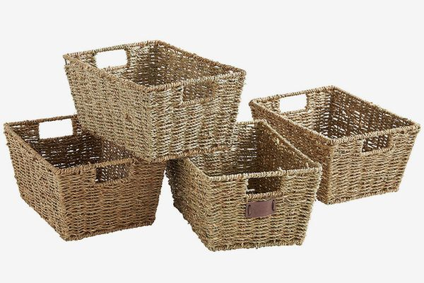 VonHaus Set of 4 Seagrass Storage Baskets with Insert Handles Ideal for Home and Bathroom Organization