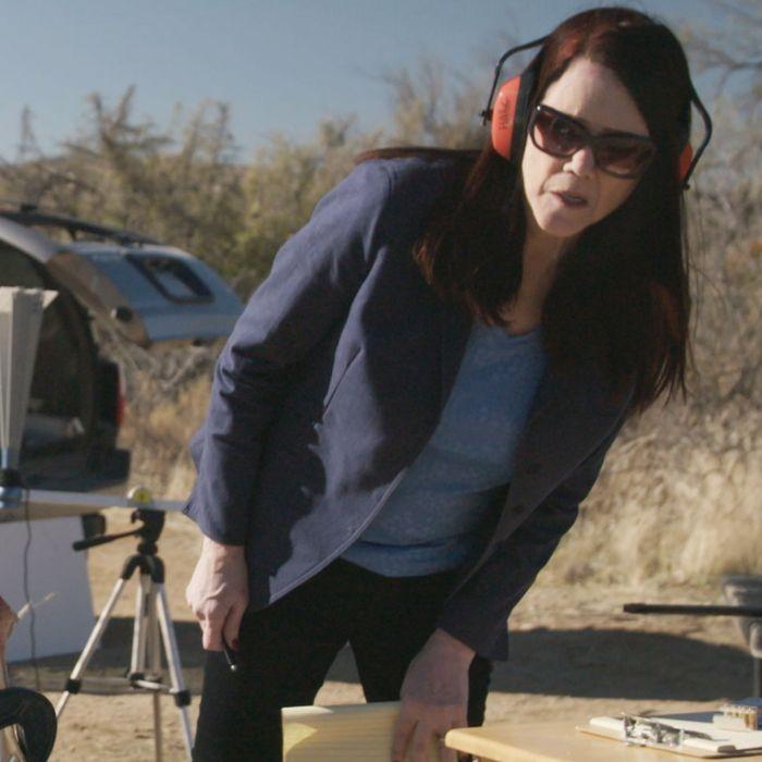 Attorney Kathleen Zellner watches a ballistics expert re-create a gunshot in