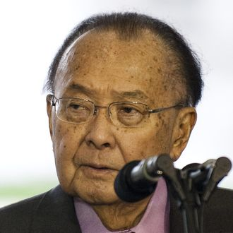 Senate Appropriations Committee Chairman Daniel Inouye, D-Hawaii, speaks during a ceremony where a plaque in honor of former Senate Majority Leader Bob Dole was unveiled at the World War II memorial in Washington, DC, April 12, 2011
