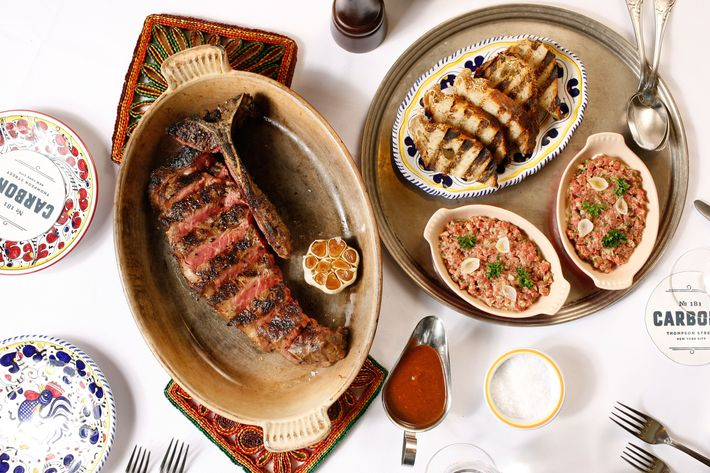 Carbone's multi-course dry-aged porterhouse for two, and tenderloin tartare.