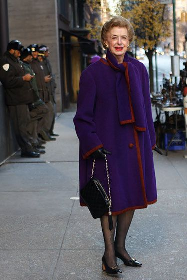 "An unidentified woman, shot in New York by <a href=""http://advancedstyle.blogspot.com/2011/12/perfectly-purple.html"">Advanced Style</a>."
