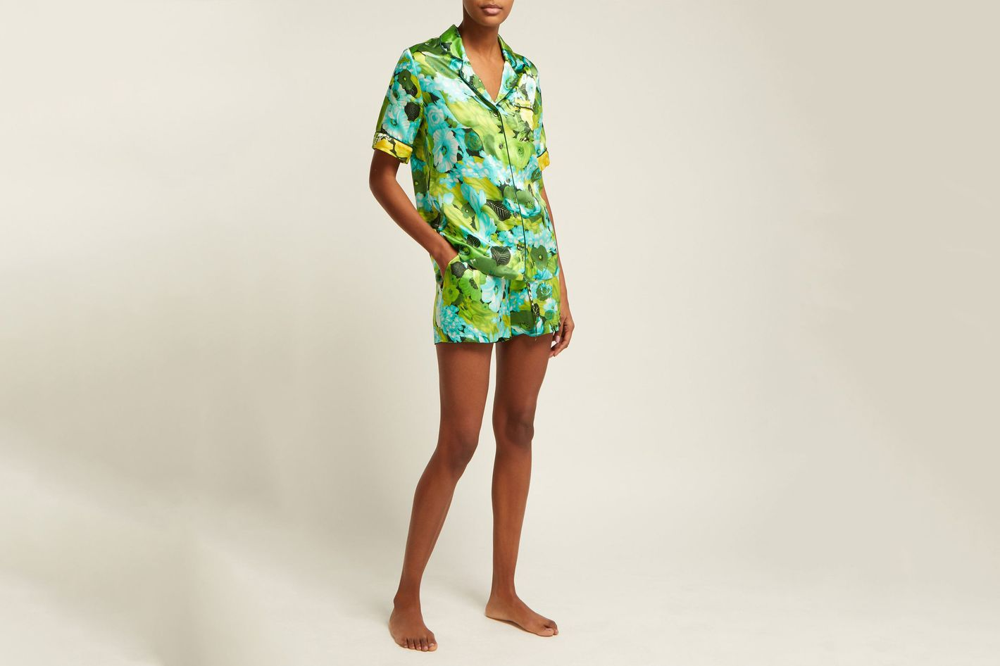 Richard Quinn Lime floral-print silk-satin pajama set at MATCHESFASHION a05aebb22