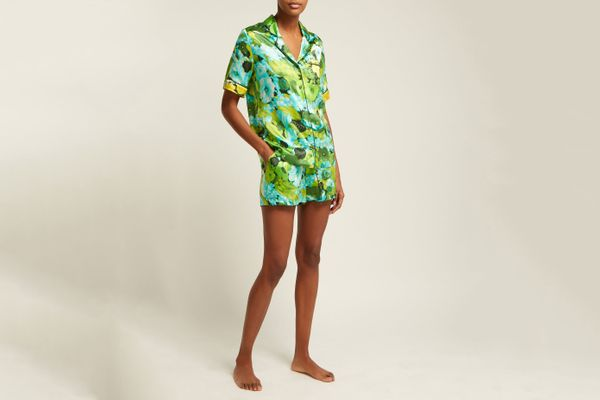 Richard Quinn Lime floral-print silk-satin pajama set