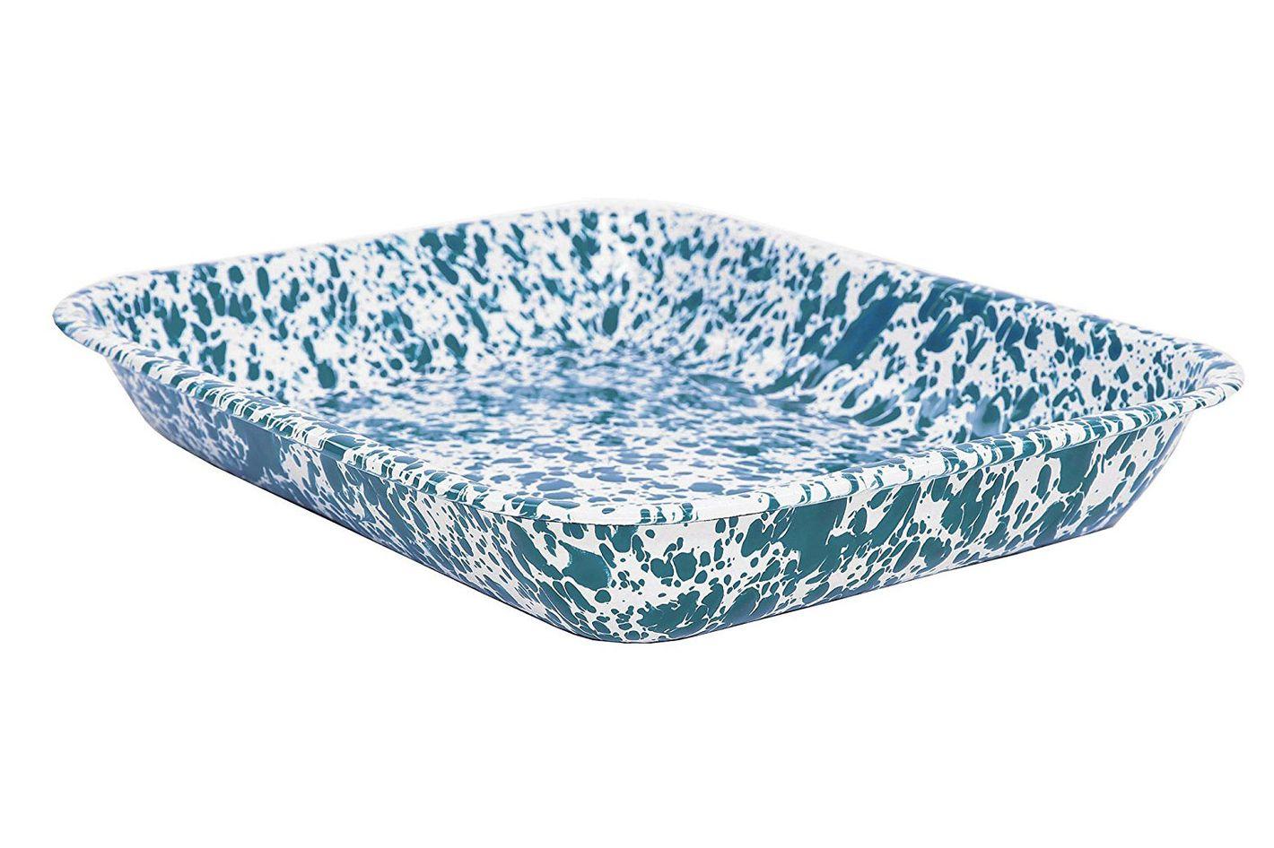 Enamelware Large Roasting Pan — Turquoise Marble