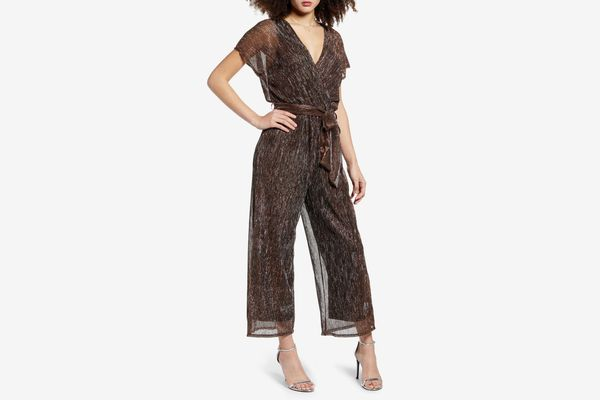 All in Favor Metallic Surplice Jumpsuit