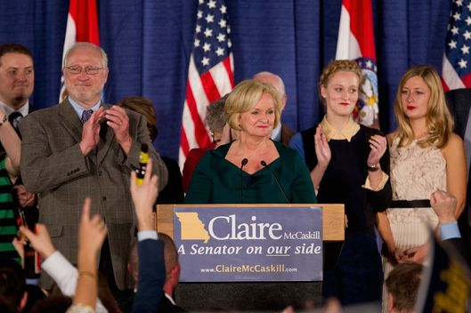 U.S. Sen. Claire McCaskill  (D-MO) is surrounded by family members as she speaks to supporters during an election night party November 6, 2012 in St. Louis, Missouri.