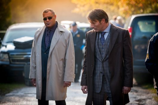 "HANNIBAL -- ""Kaiseki"" Episode 201 -- Pictured: (l-r) Laurence Fishburne as Jack Crawford, Mads Mikkelsen as Dr. Hannibal Lecter -- (Photo by: Brooke Palmer/NBC)"