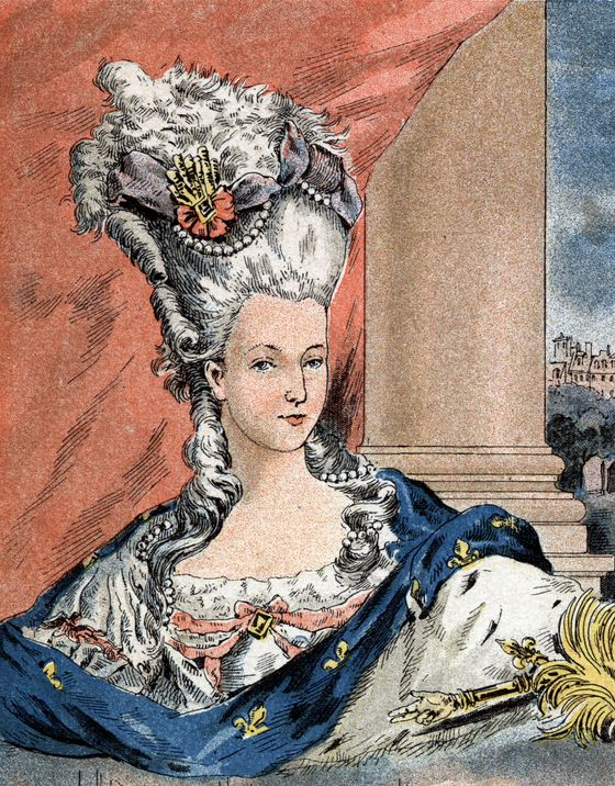 Marie Antoinette debuted her monumental new hairstyle —<i> le pouf</i> — at the coronation of Louis XVI in 1774. Built on wire scaffolding, with pads, pomade, and powder, poufs climbed to heights of three feet and grew increasingly intricate. Devised by the queen's modiste Rose Bertin and her coiffeur Léonard Autié, poufs became narrative vignettes that reflected the wearer's sentiments or current events. Marie's pouf a l'inoculation (with the serpent of Asclepius) marked the King's smallpox vaccination in 1774 and her pouf a la Belle Poule (with a miniature frigate) celebrated a naval victory in 1778.