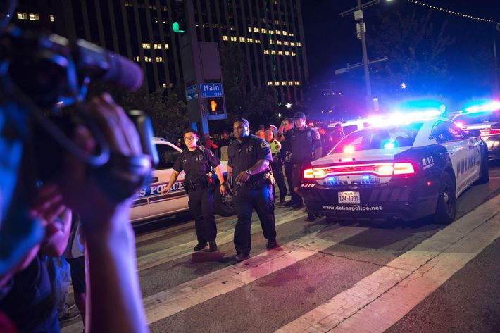 The scene of the shooting in Dallas on Thursday night.