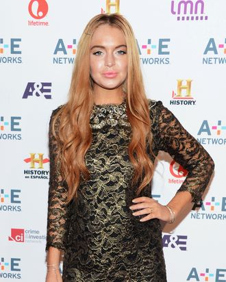 Lindsay Lohan attends A&E Networks 2012 Upfront at Lincoln Center