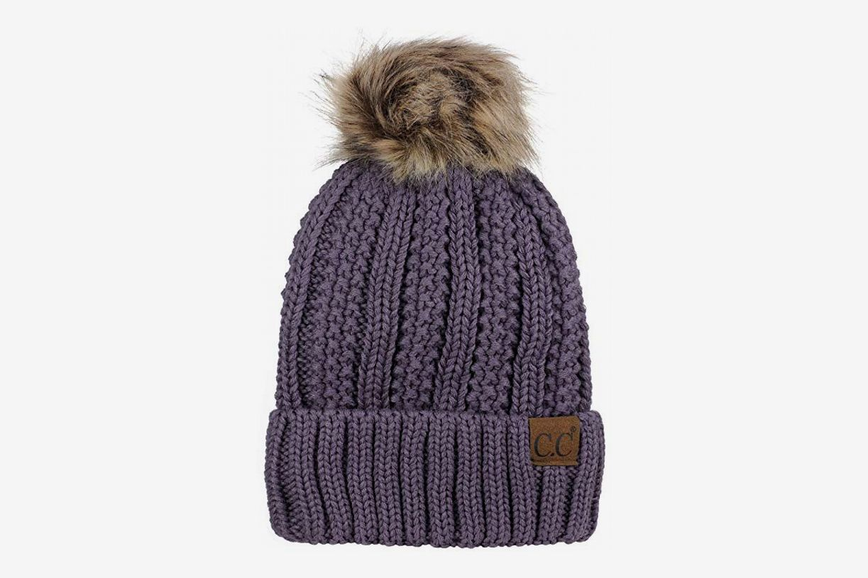 26959985755 C.C Thick Cable Knit Faux Fur Pom Fleece-Lined Beanie