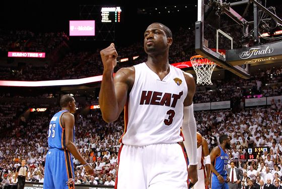 MIAMI, FL - JUNE 17:  Dwyane Wade #3 of the Miami Heat reacts in the first half against the Oklahoma City Thunder in Game Three of the 2012 NBA Finals on June 17, 2012 at American Airlines Arena in Miami, Florida.  NOTE TO USER: User expressly acknowledges and agrees that, by downloading and or using this photograph, User is consenting to the terms and conditions of the Getty Images License Agreement.  (Photo by Mike Ehrmann/Getty Images)
