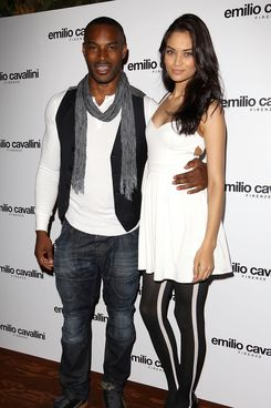 Tyson Beckford and girlfriend Shanina Shaik attend the launch of Italian hosiery label 'Emilio Cavallini' at Sketch on March 21, 2012 in London, England.