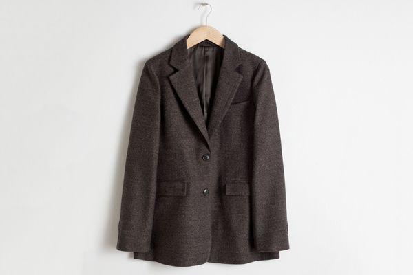 Textured Wool Blend Blazer