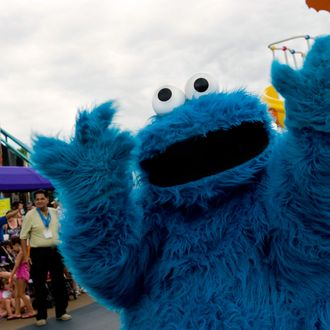 Cookie Monster entertains the crowds gathered along the parade route at Sesame Place Thursday, Aug.4, 2011.