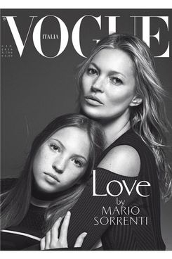 Lila Grace and Kate Moss on the cover of Vogue Italia.