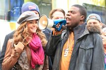 Denise Richards, Tina Fey and Tracy Morgan on location at '30 Rock' in NYC. <P> Pictured: Denise Richards and Tracy Morgan <P> <B>Ref: SPL326470  171011  </B><BR/> Picture by: Jackson Lee / Splash News<BR/> </P><P> <B>Splash News and Pictures</B><BR/> Los Angeles:	310-821-2666<BR/> New York:	212-619-2666<BR/> London:	870-934-2666<BR/> photodesk@splashnews.com<BR/> </P>