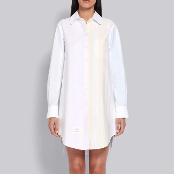 Thom Brown Fun-Mix Oxford Long Sleeve 4-Bar Shirtdress