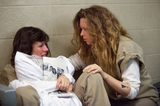 "Yael Stone (L) and Natasha Lyonne (R) in a scene from Netflix's ""Orange is the New Black"" Season 2. Photo credit: Jessica Miglio for Netflix"