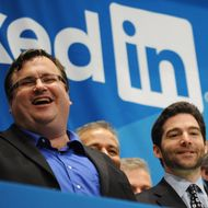Linkedin founder Reid Garrett Hoffman (L) and CEO Jeff Weiner (R) just before ringing the opening bell of the New York Stock Exchange May 19, 2011 during the initial public offering of the company. AFP PHOTO/Stan HONDA (Photo credit should read STAN HONDA/AFP/Getty Images)