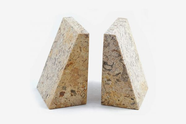 Fossilstone Marble Wedge Bookends