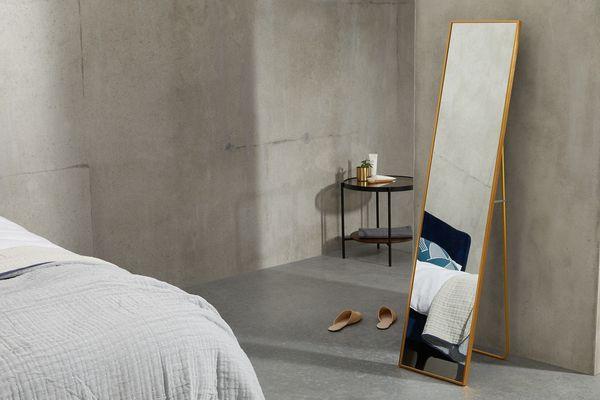 Parton Freestanding Dress Mirror 37 x 153cm, Brushed Brass