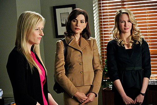 """After the Fall""--Alicia (Julianna Margulies, center) and Caitlin (Anna Camp, right) face off in court against Nancy Crozier (Mamie Gummer, left), on THE GOOD WIFE, Sunday, March 4 (9:00-10:00 PM ET/PT) on the CBS Television Network. Photo: John P. Filo/CBS √?¬©2012 CBS Broadcasting Inc. All Rights Reserved."