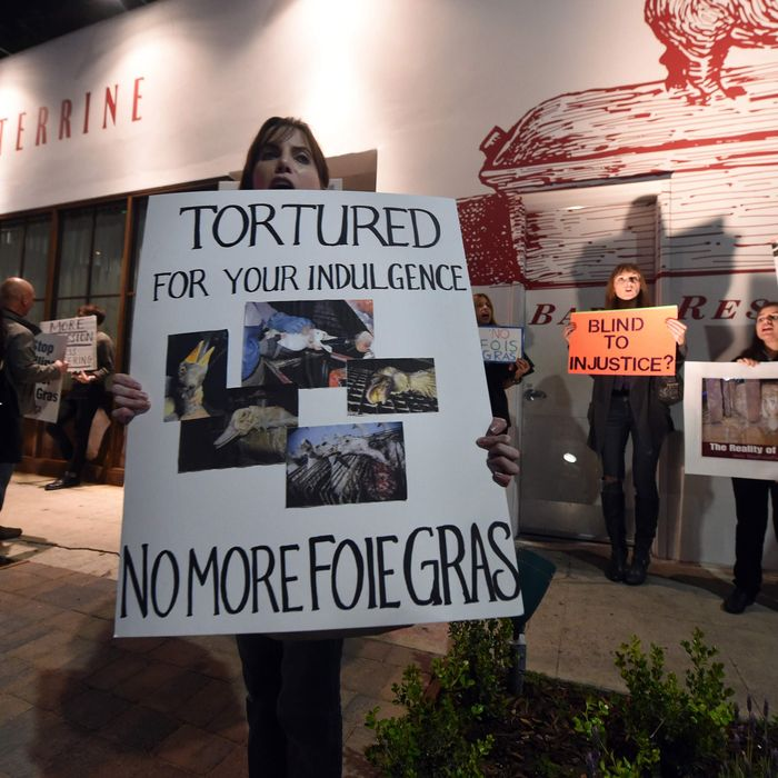 A recent protest outside Los Angeles restaurant Terrine that got out of hand.