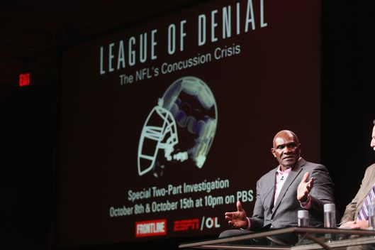 "BEVERLY HILLS, CA - AUGUST 06:  NFL Hall of Famer Harry Carson speaks onstage during the ""League of Denial: The NFL's Concussion Crisis"" panel at the PBS portion of the 2013 Summer Television Critics Association tour at the Beverly Hilton Hotel on August 6, 2013 in Beverly Hills, California.  (Photo by Frederick M. Brown/Getty Images)"