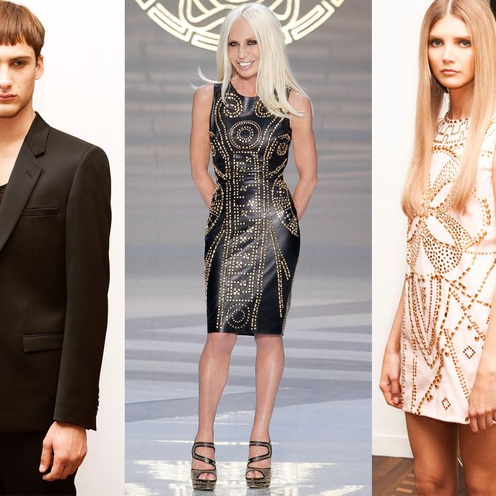 Donatella and models all wearing pieces from the H&M line.