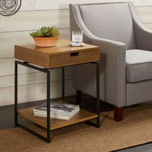 Better Homes & Gardens Juno Natural Wood End Table With Drawer