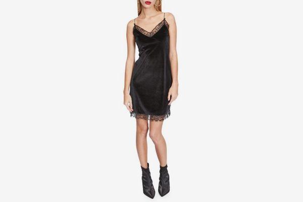 Miss Selfridge Velvet Lace Shift Dress
