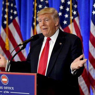 US President-elect Donald Trump speaks during a press conference January 11, 2017 at Trump Tower in New York. Trump held his first news conference in nearly six months Wednesday, amid explosive allegations over his ties to Russia, a little more than a week before his inauguration.