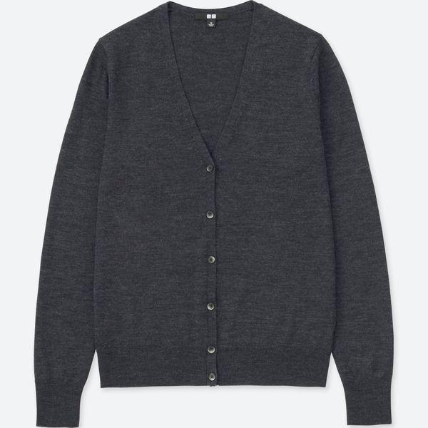 100% Extra Fine Merino Wool V Neck Cardigan