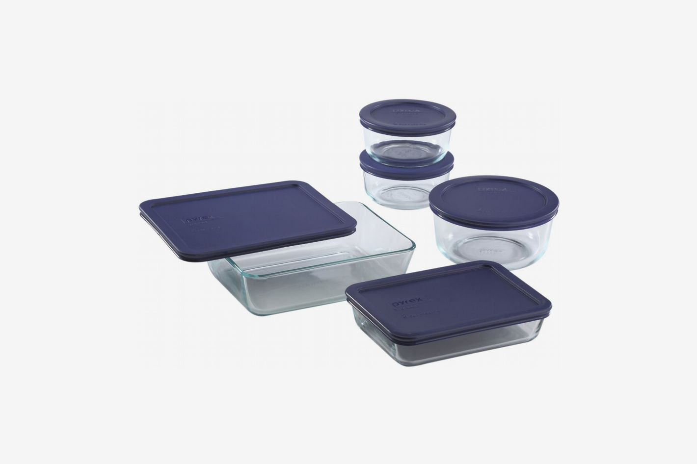 4d46803db9f Pyrex Simply Store Glass Food-Container Set With Blue Lids (10-Piece)