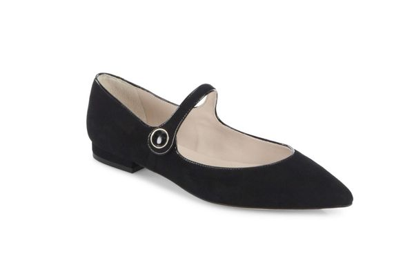L.K. Bennett Suede Mary Jane Point Toe Flats