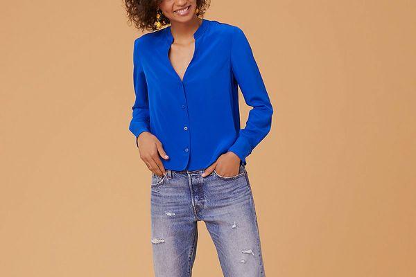 Diane von Furstenberg Long Sleeve V Neck Shirt