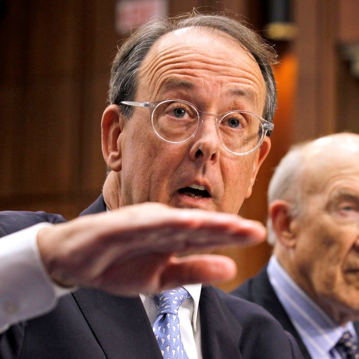 Debt Commission co-chairmen Erskine Bowles, left, and former Wyoming Sen. Alan Simpson, speak to the media after a meeting of the commission on Capitol Hill in Washington, Wednesday, Dec. 1, 2010.