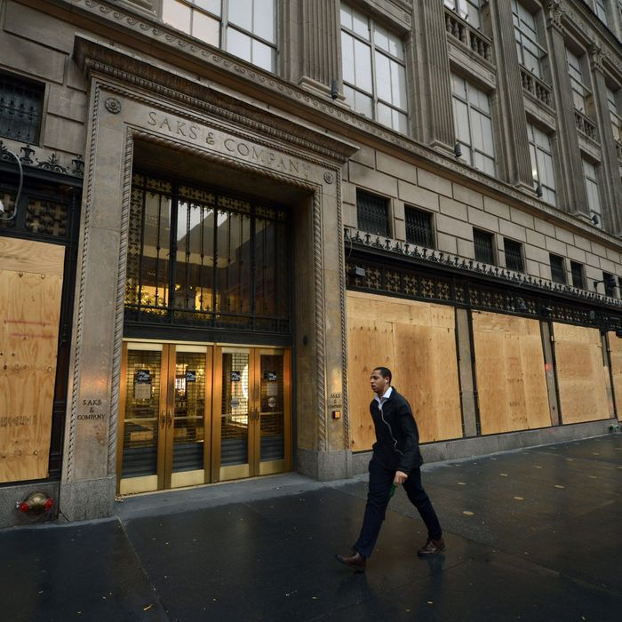 Saks boarded up after the storm.