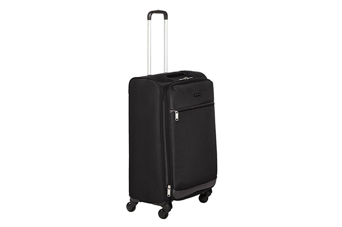 AmazonBasics Softside Spinner Luggage, Black, 25-inch