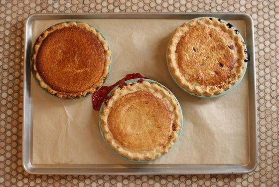 A tray of Montmorency cherry, wild blueberry, and chess pie.